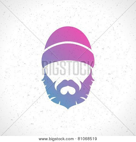 Lumberjack hipster man face style silhouette vintage vector design element illustration