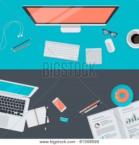 Set of flat design illustration concept of modern workspace, top view