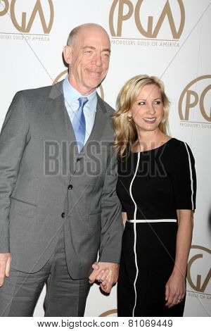 LOS ANGELES - JAN 24:  J.K. Simmons, Michelle Schumacher at the Producers Guild of America Awards 2015 at a Century Plaza Hotel on January 24, 2015 in Century City, CA