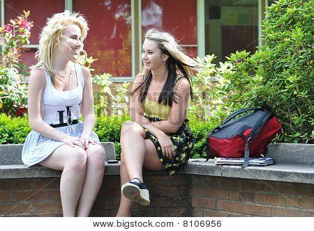 Teenage Girls Talking In Front Of School