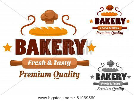 Fresh and Tasty cartoon bakery emblem
