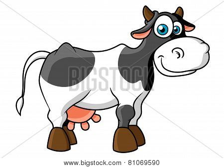 Smiling cartoon spotted cow character