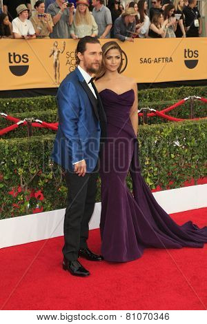 LOS ANGELES - JAN 25:  Matthew McConaughey, Camila Alves McConaughey at the 2015 Screen Actor Guild Awards at the Shrine Auditorium on January 25, 2015 in Los Angeles, CA