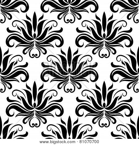 Seamless damask pattern with stylized yucca