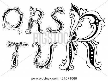 Floral capital letters Q, R, S, T and U