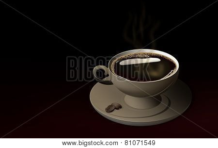 Coffee Cup With A Plate And Two Coffee Beans On It