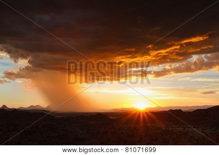 Thunderstorm Approaching In The Desert