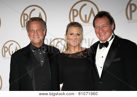LOS ANGELES - JAN 24:  Vance Van Petten, Lori McCreary, Gary Lucchesi at the Producers Guild of America Awards 2015 at a Century Plaza Hotel on January 24, 2015 in Century City, CA