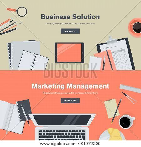 Set of flat design illustration concepts for business and marketing management