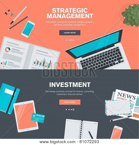 Set of flat design illustration concepts for strategic management and investment