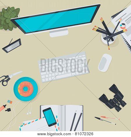 Flat design illustration concept for business workspace