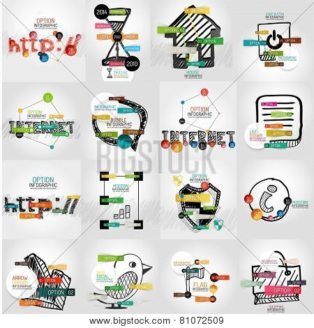 Hand-drawn vector symbols with infographic elements, stickers and keywords on icon