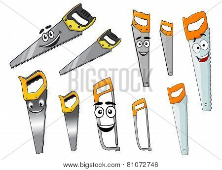 Cute cartoon hand saws with serrated blade