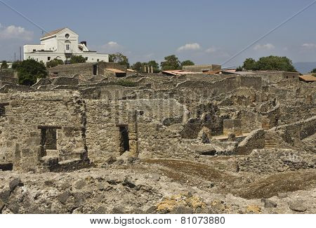 View Of The Famous Ancient Roman Town Ruins of Pompei