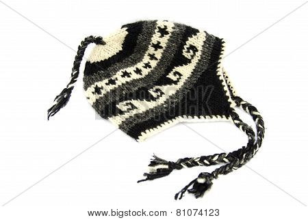 Nepalese Handmade Knitted Hat Cap Isolated On White