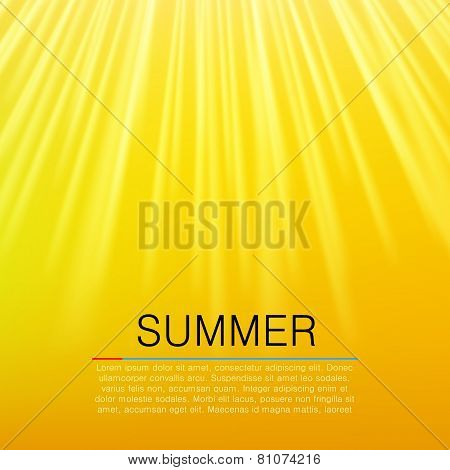 Warm Yellow Sun Beam. Summer Concept. Vector