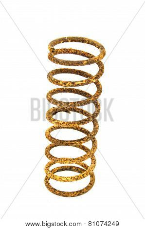Old Rusty Metallic Spring On White Background