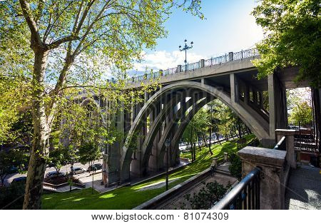 Segovia Viaduct On Spring In The City Of Madrid