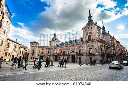 Casa De La Villa In Villa Square (plaza De La Villa) The City Hall Of Madrid On A Spring Day