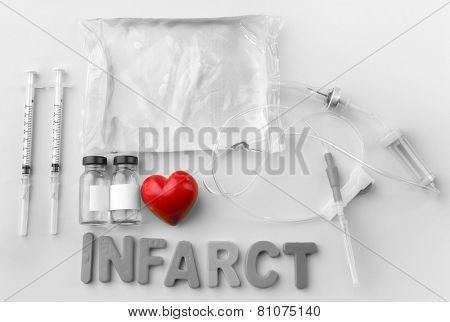 Medicines with Infarct word on colorful background