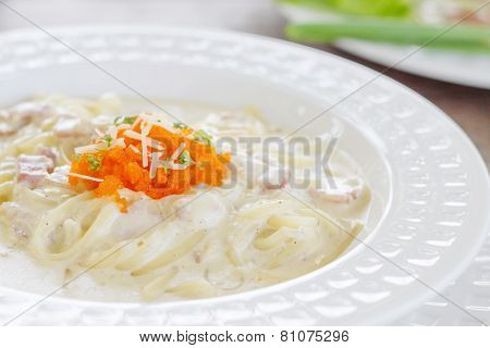 Spaghetti Carbonara With Bacon And Eggs Shrimp
