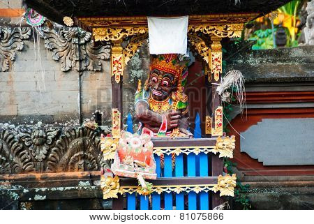 Traditional Balinese Mask In The Temple