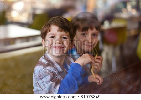 Little Boys In Fast Food Restaurant