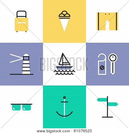 Sea Vacation Pictogram Icons Set