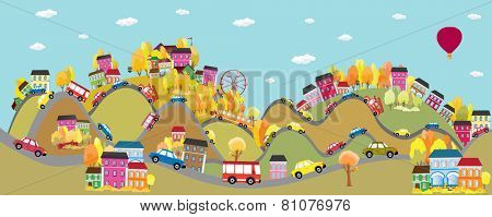 Cars on the road. Autumn background with cars on the road,  Vector  illustration