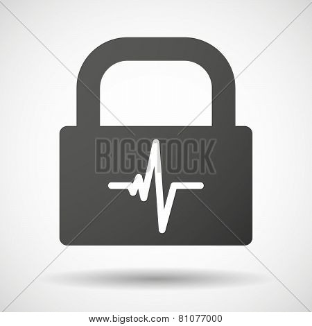 Lock Icon With A Heart Beat Sign