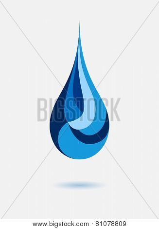 Abstract blue water drop. Vector creative concept.
