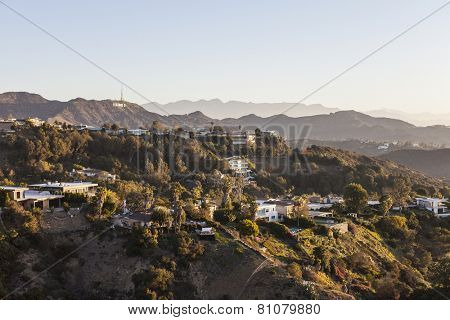 LOS ANGELES, CALIFORNIA, USA - January 1, 2015:  Hollywood Hills, homes and sign in the Santa Monica Mountains above Los Angeles.