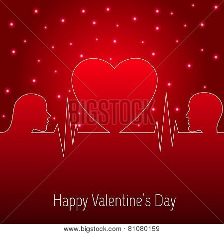 Holiday Card. Heart Valentines day. Vector illustration