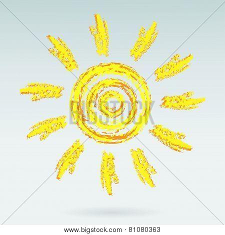 Ink sun on light blue background
