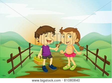 A girl and a boy at the farm