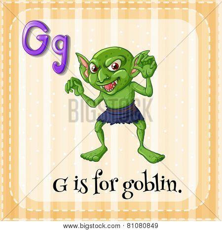 Illustration of a letter G is for goblin