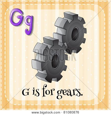 Illustration of a letter G is for gears