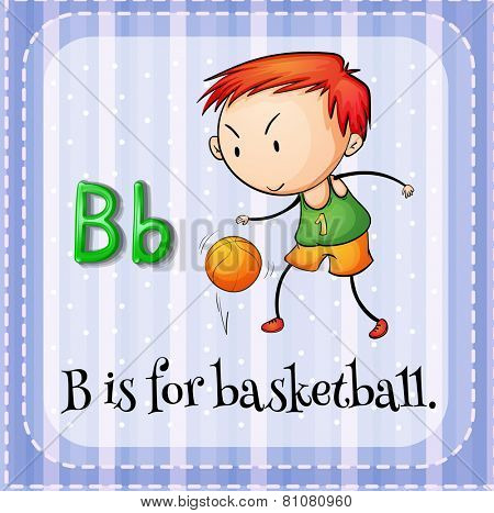 Illustration of a letter B is for basketball