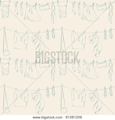 Seamless Pattern With Clothes.