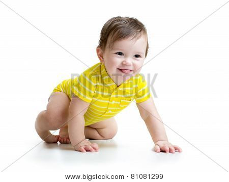 funny baby crawling