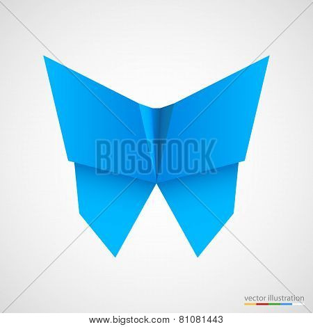 Blue origami butterfly on white. Vector