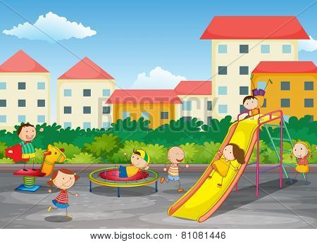 A playground with children playing