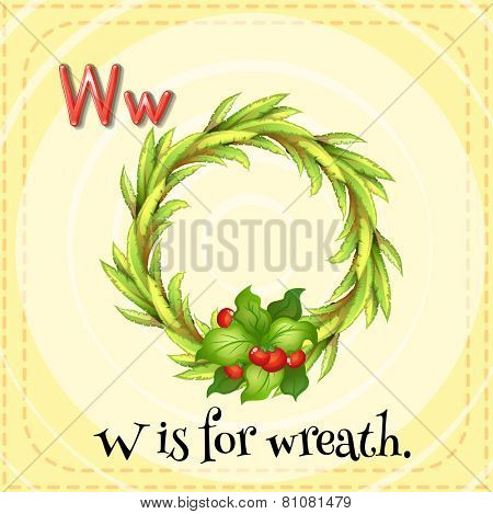 Illustration of a letter W is for wreath