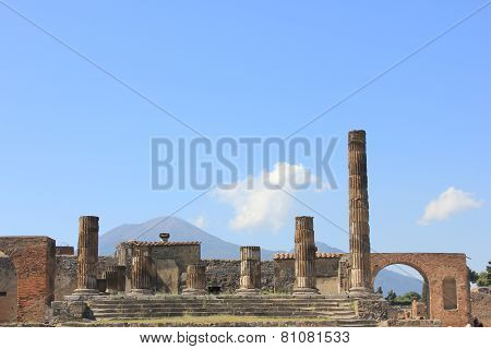 The Temple Of Jupiter With Vesuvius Volcano