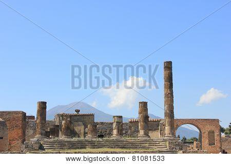 The Temple Of Jupiter With Vesuvius Volcano