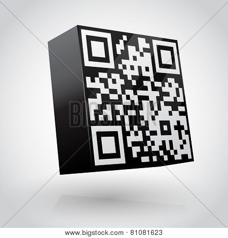 Cube with QR code vector illustration.