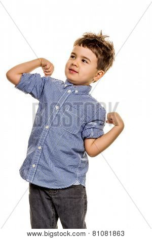 little boy in pose, symbol of childhood, self-confidence, cleverness
