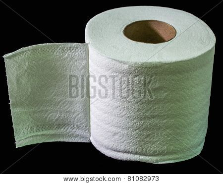one toilet paper isolated on a black