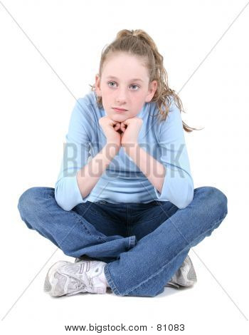 Beautiful Teen Girl Sitting Thinking Over White