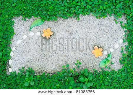 Walkway In Front Yard With Grasses Background